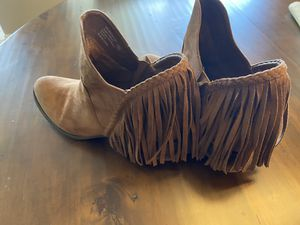 Brown Faux Suede Fringe Boots for Sale in Marysville, WA