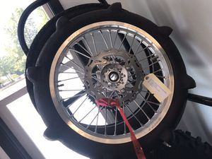 New wheel with a paddle tire for KX dirtbikes for Sale in Issaquah, WA