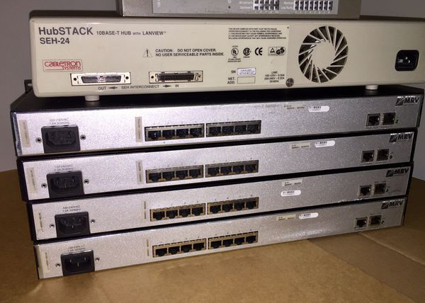 LOT OF 8 COMPUTER HUBS/SERVERS CentreCOM, Digital, Cabletron Systems and MRV Communications