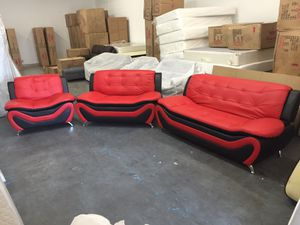 Modern style red leather three piece couch set for Sale in Tukwila, WA