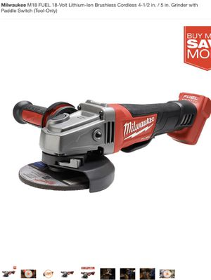 Milwaukee M18 FUEL 18-Volt Lithium-Ion Brushless Cordless 4-1/2 in. / 5 in. Grinder with Paddle Switch (Tool-Only) for Sale in Kissimmee, FL