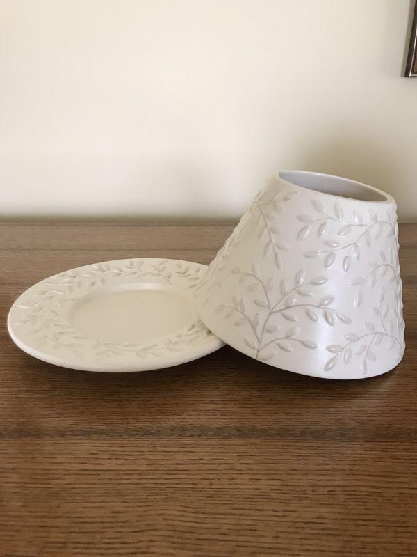 Yankee Candle shade & plate fits 14.5 oz & 22 oz jars