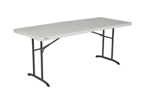 Used - Lifetime 6' Table, Folding Utility Table, Fold-in-Half Portable Plastic Picnic Party Dining Camp Table (White) for Sale in Chino, CA