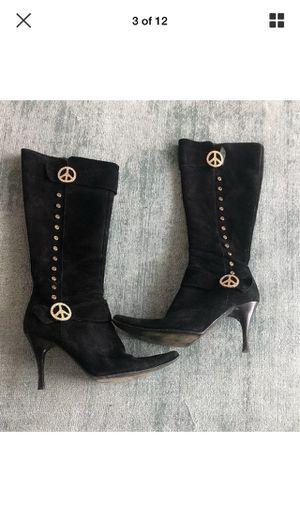 Donald J plainer Couture Black Suede Peace Tall Zipper Heel Boots Women's 8.5 M. VINTAGE for Sale in Warren, NJ
