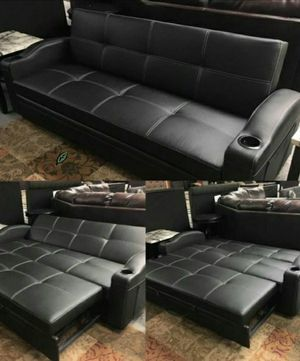 🆕️ Best  OFFER   🍻🍾 Easton Futon Sofa Bed with Cup Holders 559 for Sale in Jessup, MD