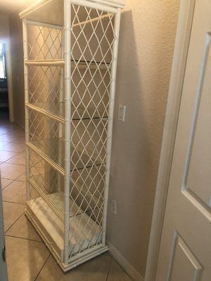Wicker shelf with glass for Sale in Miami, FL