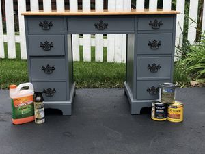 Refinished Gray Wood Desk - Stained Top for Sale in Grayslake, IL