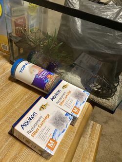 Fish Tank With Filters, Food Decorations And Rocks for Sale in Charlotte,  NC