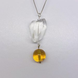 TALISMAN sterling silver rock crystal amber necklace #460 for Sale in New York, NY