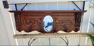 Antique coat rack solid wood lion head metal ring wall hanging clothing jacket book shelf household entryway 3 ft long. Bevelled mirror. . for Sale in Orange, CA
