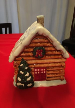 Christmas Decorations - Cookie jar - Log cabin for Sale, used for sale  Trenton, NJ