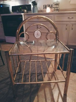 antique brass stand with glass top and undercarriage for Sale in Tomball, TX