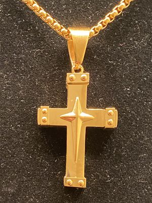 Gold stainless steel cross pendant with chain for Sale in Riverdale, GA