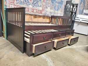 Twin Mission Style Captain Bed (Fully Slated) with Trundle and Drawers, Cappuccino Finish for Sale in Fountain Valley, CA