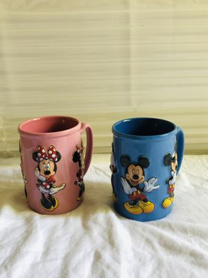 Disney~Pair of Matching MICKEY & MINNIE MOUSE Blue & Pink Coffee Mugs~16oz~VTG for Sale in COCKYSVIL, MD