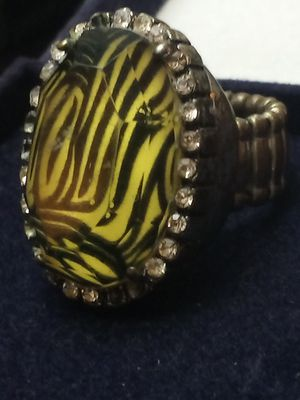 Yellow zebra print large cocktail ring for Sale in Akron, OH