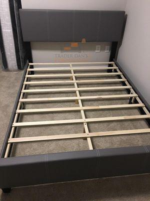 Brand New Full Size Grey Leather Platform Bed Frame for Sale in Arlington, VA