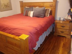 Large cal king bedroom set with seley MATTRESS for Sale in Nashville, TN