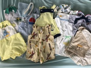 Vintage baby boy lot rompers overalls nautical retro bonnet for Sale in Pompano Beach, FL