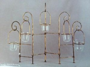 "Large Centerpiece 5 Candle Votive Candle Candelabra Wire Hanging Baskets Gold Tone 22"" W x 22""T for Sale in Flint, MI"