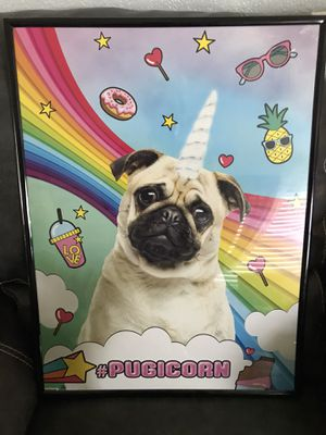 Pug poster& frame for Sale in Coral Springs, FL