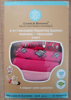 New Charlie banana cloth diaper system size (medium) see pictures firm I'm in Fontana for Sale in Fontana, CA
