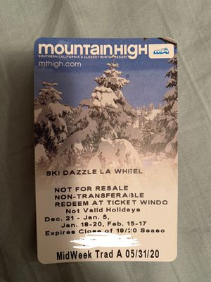 Mt High Lift Ticket for Sale in Huntington Beach, CA
