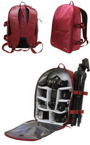 New in box Dark Red Deluxe SLR Camera Cushion Backpack Tripod Holder 13x7x16 inches for Sale in Whittier, CA