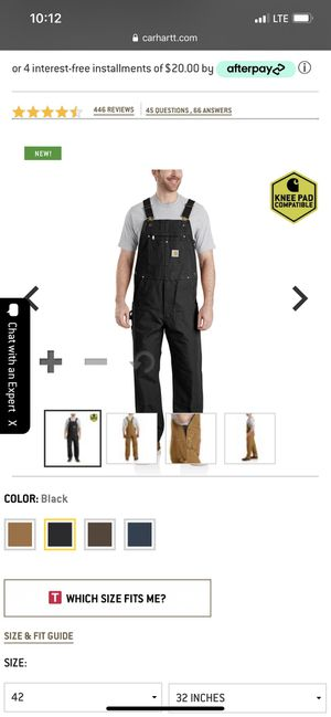 Carhartt duck bib overalls for Sale in Raleigh, NC