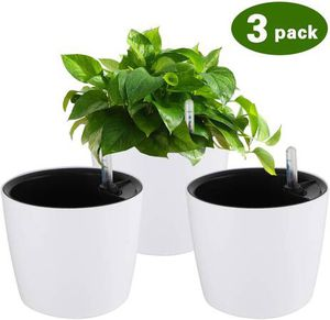 Plastic Planter, Flower Pot White Plant Pots, Self Watering Planters 7 Inches 3 Pacs Plant Containers with Water Level Indicator for House Plants Afr for Sale in Pomona, CA