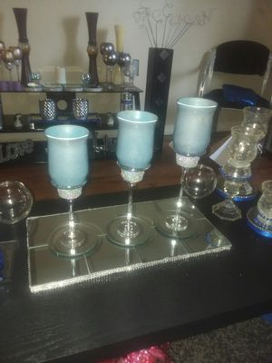 Light blue 3pc candle holder set for Sale in Bellevue, IL