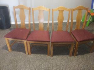 Wooden chair with red seat for Sale in Walton Hills, OH