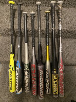 Baseball softball bats gloves equipment bag huge lot for Sale in Alexandria, VA