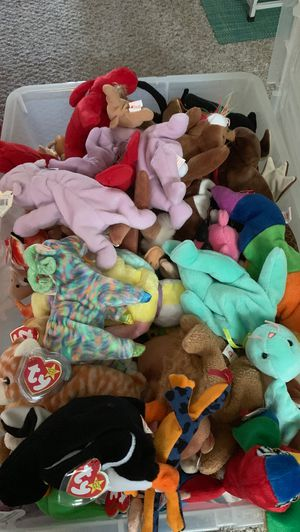 TY beanie babies with tag. Stored in plastic container for Sale in Sterling Heights, MI