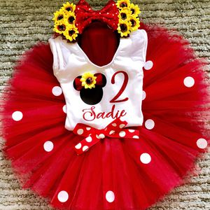 Minnie Mouse Red/Sunflower Birthday Outfit & Headband Ears for Sale in Long Beach, CA