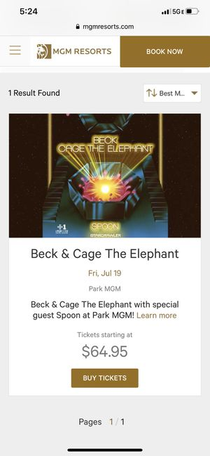 Beck cage the elephant 7/19 park MGM for Sale in Las Vegas, NV