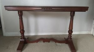 Antique Cherry Wood Genuine Real Vintage Solid Library Table with Leaf for Sale in La Mirada, CA