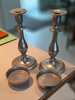 Pewter candlesticks suitable for tapers and pedestal candles with extra base added for Sale in Lacey, WA