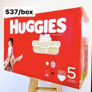 Size 5 (Over 27 lbs) Huggies Little Snugglers (120 baby diapers) for Sale in Anaheim, CA
