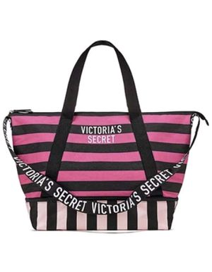 Victoria's Secret Expandable Weekender Tote Bag, Pink/Black Stripe Zip-top for Sale in Davenport, FL