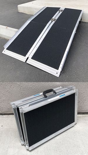 """(NEW) $100 Non-Skid 4' ft Aluminum Portable Wheelchair Scooter Mobility Folding Ramp (48x28"""") for Sale in Whittier, CA"""