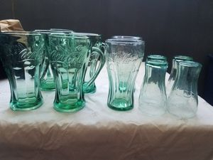 11 collectible Coca cola green glasses for Sale in Littleton, CO