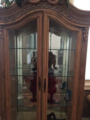 Ivory colored antique china cabinet for Sale in Chicago, IL