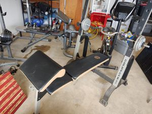 Workout Bench Press and curling bar for Sale in Cosmopolis, WA