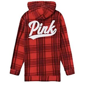 Victoria's Secret Pink Red Plaid Polar Fleece Campus Hoodie Quarter Zip Large for Sale in North Olmsted, OH