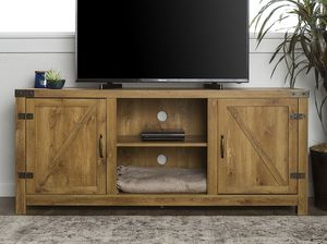 Manor Park Modern Farmhouse Barn Door TV Stand for TV's 58inch- Barnwood Description:Open and closed storage with open and closed shelving space Cabl for Sale in Houston, TX
