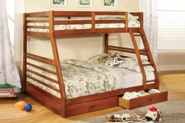 Brand New Oak Twin Over Full Bunk Bed w Trundle Drawers for Sale in El Monte,  CA
