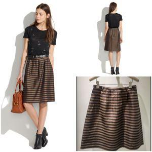 Madewell Size 10 Linen Silk Pleated Brown Black Striped Knee Length Skirt for Sale in Phoenix, AZ