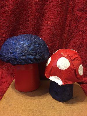 Patriotic Mushrooms/ handmade concrete yard art for Sale in Vacaville, CA