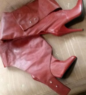 Vintage Ellie Dark Red Leather Chap Thigh Crotch Boots 8 M for Sale in Hyattsville, MD